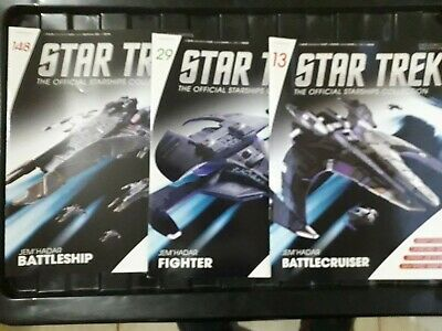 Star Trek Eaglemoss Issue 13,29 & 148 JEM HADAR BUNDLE  models with Magazine