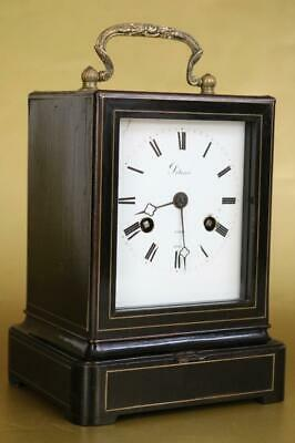 ANTIQUE FRENCH CAMPAIGN CARRIAGE CLOCK by POTONIE c1850 ebony case & brass inlay