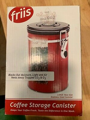 Red Coffee Vault Air Tight Coffee Storage 16 Ounce Stainless Steel BRAND NEW