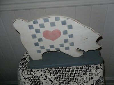 Old Hand Made Wooden  Pig Farmhouse /country/shabby Chic