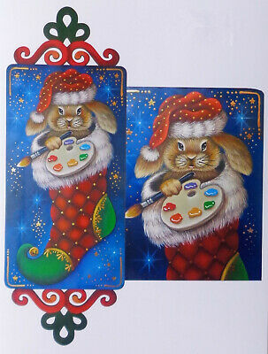 """Jillybean Fitzhenry tole painting pattern """"Bunny in my Stocking"""""""