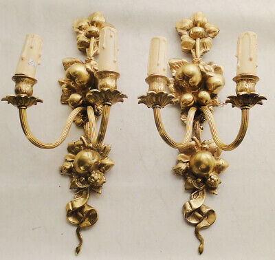 Antique french bronze pair of sconces Solid bronzes Four new wodd candles
