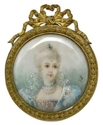 Antique French Gilded Age Noble Woman Miniature Portrait Painting + Ormolu Frame