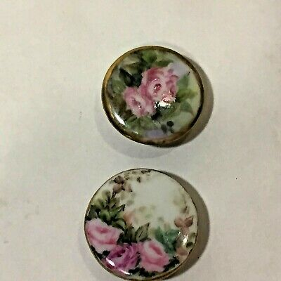 "Vtg Pair Of Large 1"" Antique Hand Painted Porcelain Buttons Roses Floral Chintz"