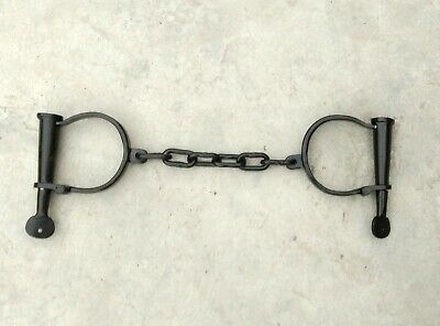 Black Vintage Iron hand cuffs Long Link + Key / Handcuffs / Shackles film Prop