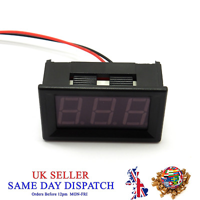 "DC 7V-150V Voltmeter 0.56"" Yellow LED 2 Wire Digital Voltage Meter Volt Car Bike"