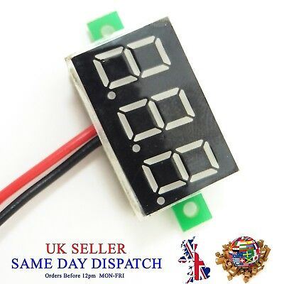 "DC 2.5V-30V Voltmeter 0.36"" Blue LED 3 Wire Digital Voltage Meter Volt Car Bike"