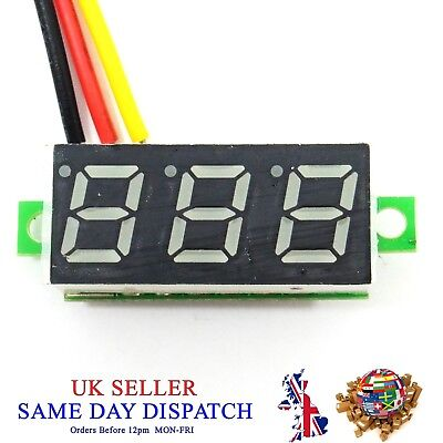 "DC 100V Voltmeter 0.28"" Red LED 3 Wire Digital Voltage Meter Volt Car Bike"