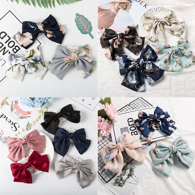 Korean Sweet Girls Bowknot Spring Clip Barrette Hairpin Ponytail Headwear Acces