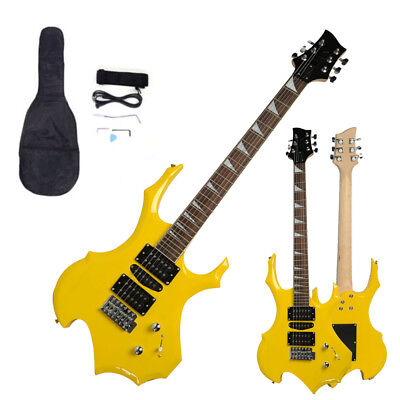New Yellow Flame Type Beginner Practice Right-Handed Electric Guitar Set