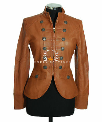 Scarlet Tan Ladies Military Lambskin Leather Jacket WAREHOUSE CLEARANCE SIZE:10