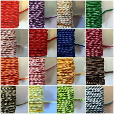 Satin Twisted Cord  ~ 3mm  ~ Purchase by the Metre