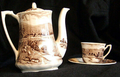 Vintage Alfred Meakin Coffee Pot with 6 Cups and Saucers - Tintern Brown