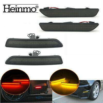 Smoked Lens Front Amber Rear Red LED Side Marker Lights For Ford Mustang 2010-14