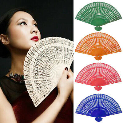 Wedding Hand Fragrant Party Carved Bamboo Folding Fan Chinese Wooden Fan AU