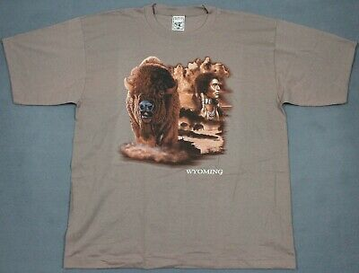 NEW Vintage 90's Alore USA Wyoming Native American Buffalo T-Shirt 2XL NOS