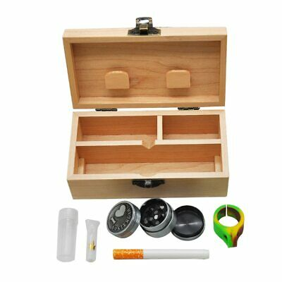 Wood Stash Box+Rolling Tray+Metal Herb Grinder+Glass Mouth Tips+One Hitter Pipe
