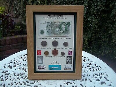 50th Birthday 1969, One Pound Note, 6 Coin & Stamps Framed Set, Unique Gift