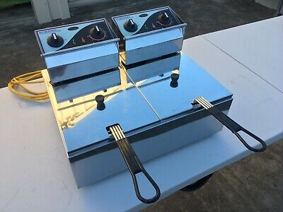 Roband F25 Twin Basket Benchtop deep fryer, 10A, Latest Model.