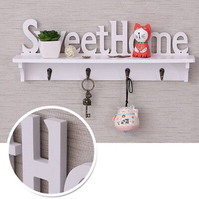 AU DIY Wall Coat Rack Solid Wooden Hanger Hooks Wall-mounted Storage Stand Shelf