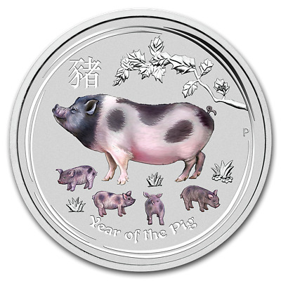 2019 PM Lunar Series 2 Year of the Pig 1/2oz Color bu .9999 Fine Silver Coin