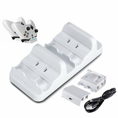 Dual Charging Dock Charger+2 Rechargeable Battery For Xbox One S Controller YU