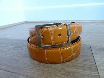 Vintage 90s orange croc leather gold buckle belt 39 - 43 inch waist VGC