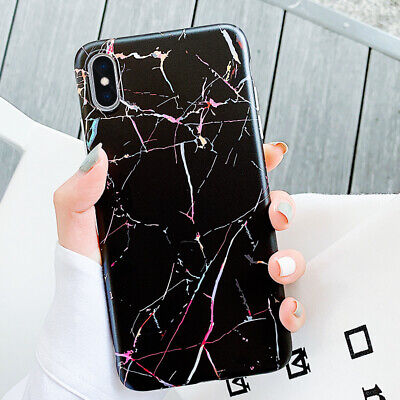 Marble Crack Silicone Shockproof Soft Case Over For iPhone XS Max XR 8 7 6s Plus