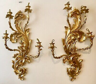 A Pair Of Antique French Ormolu Bronze Five Branch Wall Lights 65Cm Long