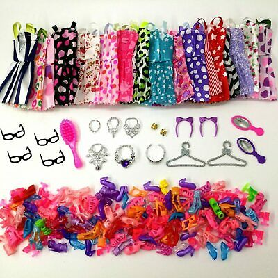 38pcs Doll Accessories Set Clothes Dress Glasses Plastic Shoes For Girls Doll