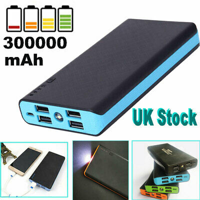 4 USB Power Bank Fast Charging Greenest Portable 300000mAh LED Battery Charger