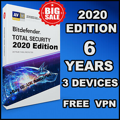 Bitdefender Total Security 2019  / 2020 - 6 Years 3 Device Activation - Download