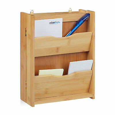 Bamboo Key Cabinet, 6 Hooks, Key Organiser and Letter Rack