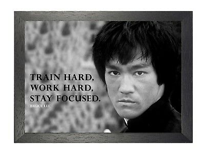 Bruce Lee 3 Motivation Martial Arts Icon Legend Work Hard Quote Photo Poster