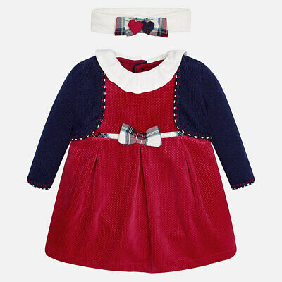 Designer MAYORAL Baby Girls Dress Hairband and Tights set 0/1mth 1/2mth WAS £55