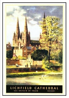 Lichfield Cathedral Railway Vintage Retro Oldschool Old Good Price Poster