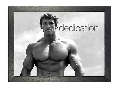Motivation Arnold Schwarzenegger Professional Bodybuilder Dedication Poster B&W