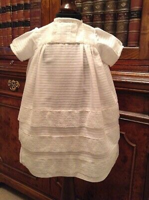 Vintage White Cotton & Lace Baby Dress - Christening Dress