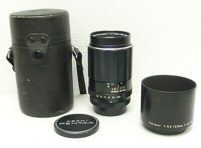 """Exc+!!"" PENTAX Super-Takumar F/3.5 135mm M42 mount W/Hood&Case from Japan #BK"