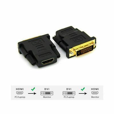 Gold Plated Adapter DVI Male 24+1Pin Male To HDMI Female Connector Professional