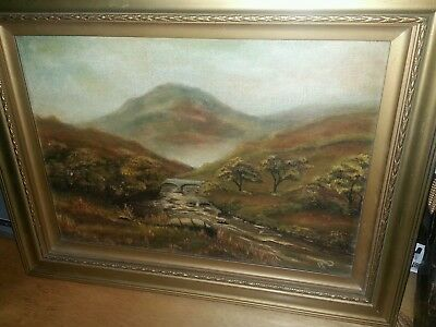 ANTIQUE Signed  OIL ON BOARD PAINTING- In Original  Gold Gilt Wood Frame