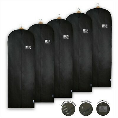 Black Garment Bag Dress Cover Clothes Gown Breathable Storage Travel Carrier