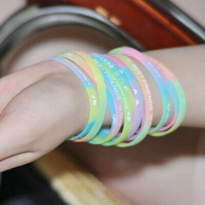 Wholesale Mix Lots 100pcs Glow in the Dark Silicone Bands Luminous Bracelets