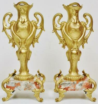 Pair Of Antique French Gilt Metal & Marble Mantel Clock Side Urn Garnitures