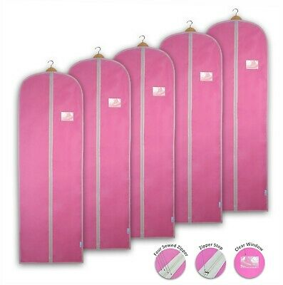 Pink Garment Bag Dress Cover Clothes Gown Breathable Storage Travel Carrier