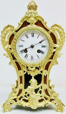 Rare Antique French 8 Day Bell Striking Walnut & Bronze Ormolu Mantle Clock
