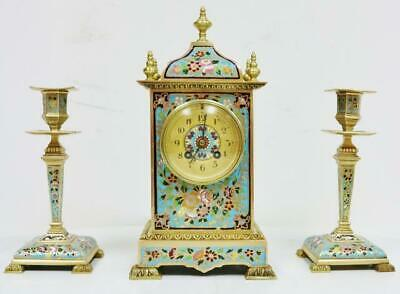 Stunning Antique French 8 Day Bronze Ormolu & Champleve Enamel Mantle Clock Set
