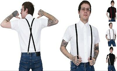 NEW THIN NARROW ELASTIC BRACES CLIP ON Y-SHAPE SUSPENDERS ~ SOLID RED #SP-102