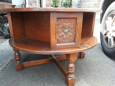 Old Charm Jaycee Tudor Oak Coffee Table Revolving Bookcase