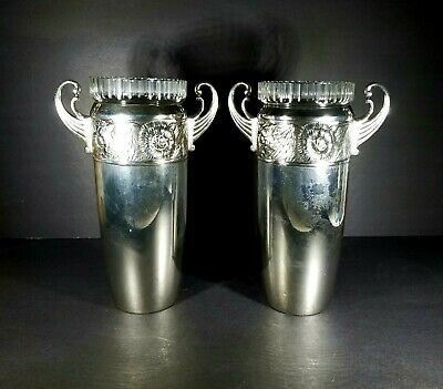 Large Pair WMF Jugendstil Silverplate Vases Glass Liners c 1900 at No Reserve!